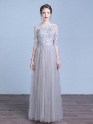 【XXL】少しダメージあり*リトルグレー・プリンセスロングドレス HH-10 演奏会ステージドレス