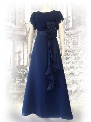 【M/L 高品質】お袖付きロングドレス*ネイビー1792 演奏会ロングドレス