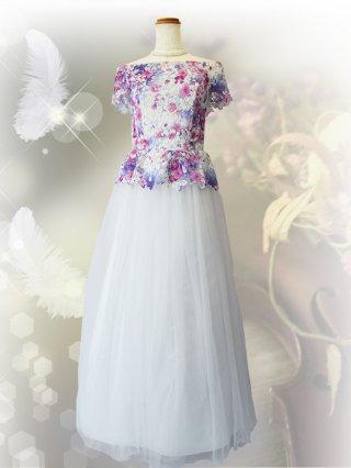 水彩画ピンク スピンドルロングドレス0167 演奏会ステージドレス