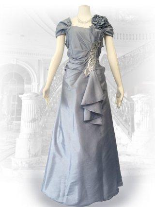 【4L大きいサイズ】シルバーカーブストーン袖付ステージロングドレス1801 /演奏会