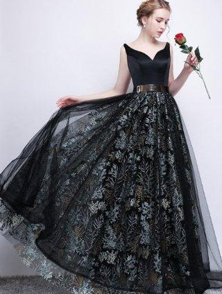 ゴールドベルト付*刺繍スカートロングドレス*ブラック 573 演奏会ステージドレス