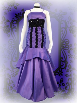 【M.L】コルセット風マーメイド*パープルロングドレス3656*ステージ衣装