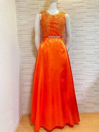 【L】ダリアオレンジ*ロングドレス 1805演奏会 ラミューズドレス通販