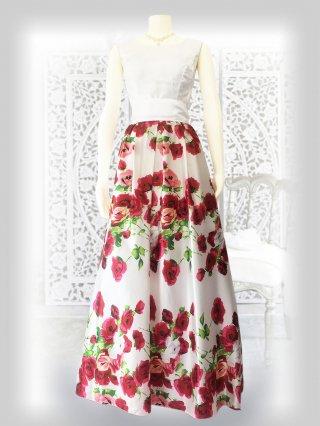 ホワイトローズ*ノースリーブ*プリントスカート 演奏会ステージドレス