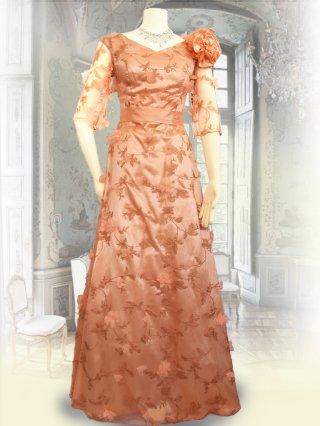リーフレース*造花付き*サーモンピンク5分袖ロングドレス 3650/ 演奏会 ラミューズドレス通販