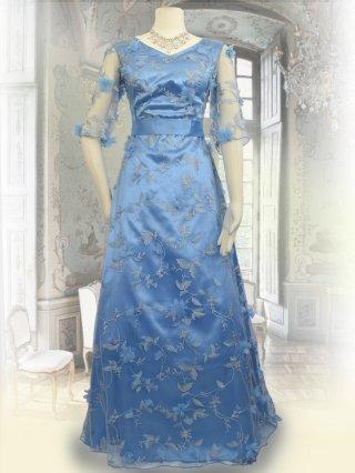 リーフレース*造花付き*ブルー5分袖ロングドレス 3650/ 演奏会 ラミューズドレス通販