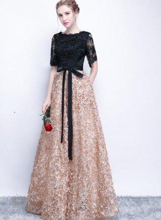 【M/XL】3Dフラワードレス*お袖付ロングドレス ブラック*ベージュ 115 演奏会ステージドレス