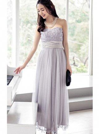 【背の低い方に☆M-XL】ローズベアトップロングドレス*4色 演奏会ロングドレス
