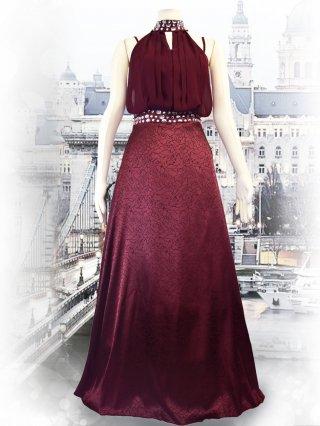【Lサイズ】ホルターネック*ローズプリント*ワインレッドロングドレス 2104/演奏会ステージドレス