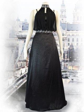【M・Lサイズ】ホルターネック*ローズプリント*ブラックロングドレス 2104/演奏会ステージドレス