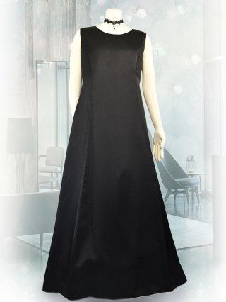 【3L・背の低い方に】サテンフレアーロングドレス*ブラック1743 ノースリーブ*演奏会衣装