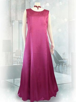【3L・背の低い方に】サテンフレアーロングドレス*ローズ1743*ノースリーブ演奏会衣装