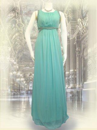 クロスビーズ*女神ラインノースリーブロングドレス・グリーン8337 / 演奏会 ラミューズドレス通販
