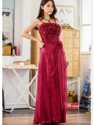 【S-4L】赤い薔薇のブーケロングドレス*レッド9750/演奏会 ラミューズドレス通販(Fサイズ)
