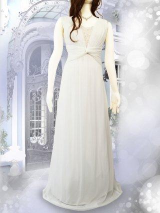 【少し傷あり】スワン・ホワイトロングドレス 1145/演奏会ステージドレス