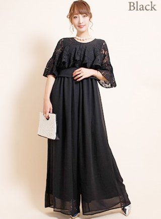 【M-LL】5分袖フレアースリーブ*ワイドパンツドレス*ブラック/ 演奏会 パーティー衣装