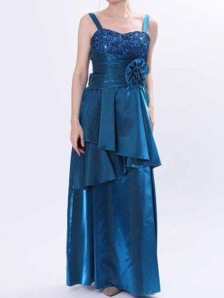 肩が凝らない着やせドレス*ブルー*3335 演奏会 ラミューズドレス通販