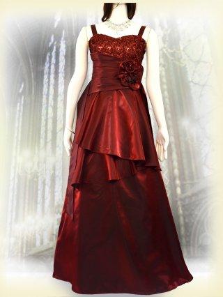【お取り寄せ】肩が凝らない着やせドレス*レッド*3335 演奏会 ラミューズドレス通販