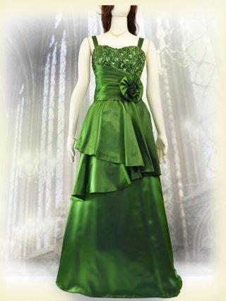 【お取り寄せ】肩が凝らない着やせドレス*アイヴィグリーン*3335 演奏会 ラミューズドレス通販