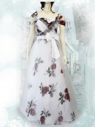 透かし薔薇柄*声楽家*ホワイト*袖付きドレス3258/ 演奏会 ラミューズドレス通販