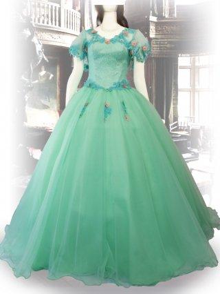 プリンセスライン*お袖付きグリーン演奏会ロングドレス7863*リサイタルドレス