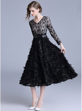 【L】長袖ブラックドレス*ベルト付*1309 レース切り替えシャギーロングドレス 演奏会