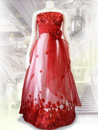 【L/LL】フラワープリントロングドレス*レッド×ホワイト/演奏会 ラミューズドレス通販