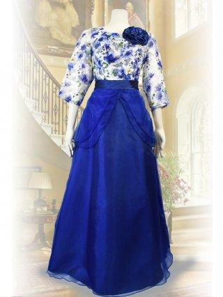 【LL】水彩ロングドレス*ロイヤルブルー*ネイビー/演奏会 ラミューズドレス通販