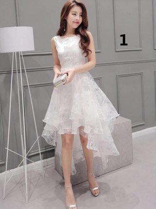 ホワイト花柄フィッシュテールワンピース*LA09ドレス 演奏会ステージドレス
