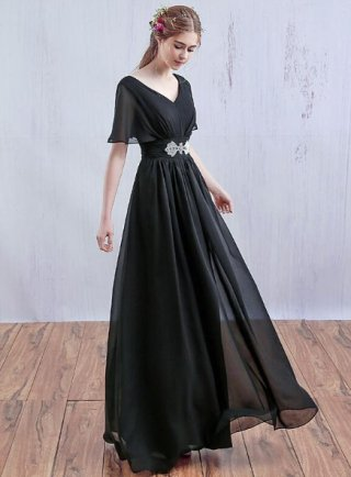 【S/M/5XL】シンプルブラックロングドレス 演奏会 ステージドレス