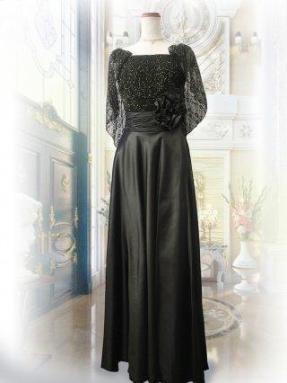 着痩せロングドレス*スパンコールケープドレス グリーン 2085 ステージドレス ラミューズ