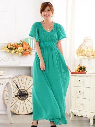 【3L】リカーモグリーン 袖付きロングドレス 9626/演奏会 ラミューズドレス