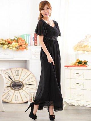 【3L】リカーモブラック 袖付きロングドレス 9626/演奏会 ラミューズドレス