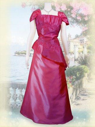 【3L】ラズベリーピンクお袖付きロングドレス*2429/演奏会 ラミューズドレス