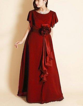 【M/L 高品質】ミセス向けお袖付きロングドレス*ワインレッド1792 演奏会ロングドレス