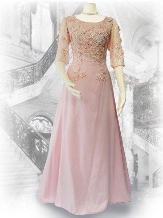 メアリー・ペールピンク 5分袖ロングドレス 1775/ 演奏会 ラミューズドレス通販