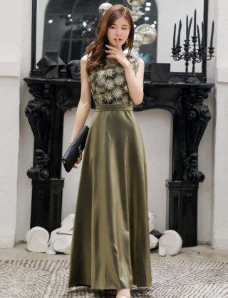 【XL・3XL】オリーブグリーンロングドレス*ラミューズドレス通販