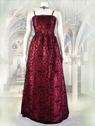 ロマネスク柄のロングドレス*ストロベリーレッド 7232/ 演奏会 ラミューズドレス通販