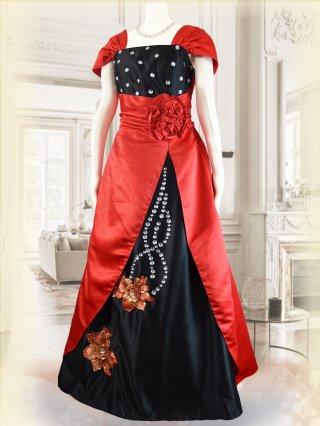 【3L】和風*紅花模様*袖付きドレス3646/ラミューズドレス 演奏会