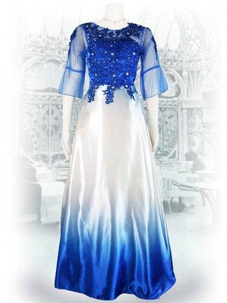 グラデーションカラー*ブルー*フローラル刺繍ロングドレス 2393 演奏会ステージドレス