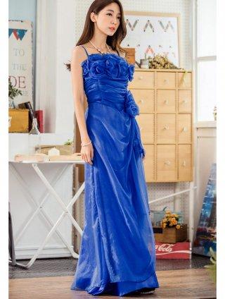 【20号】青い薔薇のブーケロングドレス*ロイヤルブルー 9750/演奏会 ラミューズドレス通販