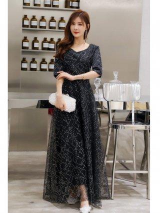 【4XL大きいサイズ・袖付き】スパンコール煌めきロングドレス*ブラック/演奏会