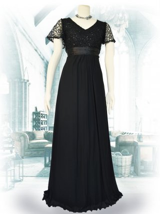 お袖付き女神ラインロングドレス*ブラック /演奏会ステージドレス