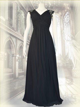 【小さめ〜Lサイズまで】フレンチスリーブ女神ラインロングドレス*ブラック /オーケストラ演奏会ステージドレス