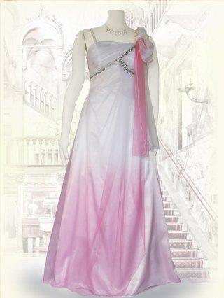 ヴィーナスAライン*ホワイト〜ピンク*ショール付きロングドレス 演奏会ステージドレス