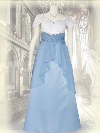 【M/L】サックスブルー*ドレープ袖付きロングドレス 演奏会ステージドレス