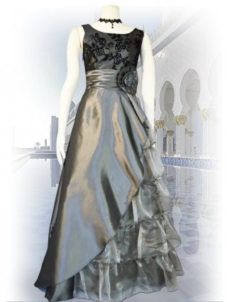 【お取り寄せ】シルバー*5段ティアードフロッキードレス 演奏会ロングドレス