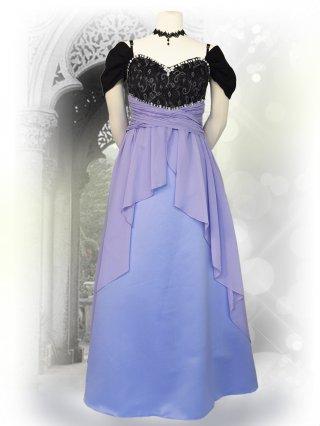 ドリームパープル*ドレープ袖付きロングドレス 演奏会ステージドレス