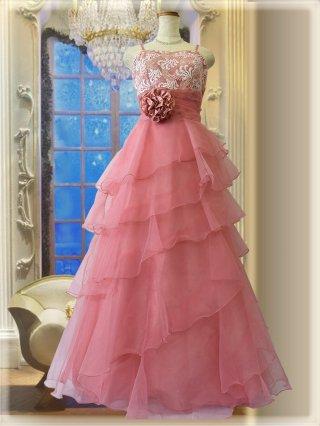 少し傷あり*ピンク・オパール ロングドレス5298ステージドレス ラミューズ