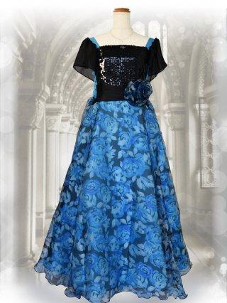 お袖付きビスチェ風 ブルー プリントスカート演奏会ステージドレス